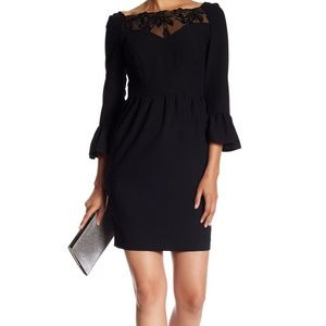 Arefeva black lace inset bell sleeve dress new